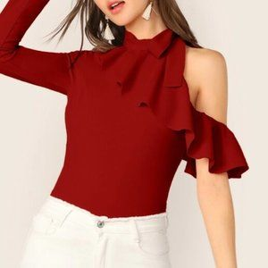 Red Ruffle Cutout Blouse in S, M, L and XL